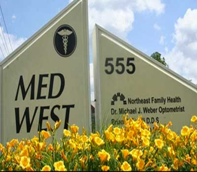 Med West Eyecare front sign in Westerville Ohio 555 Shrock Rd.